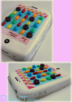 Candy Crush Themed Cake Filled With Dulce De Leche And Fresh Peaches Covered With Fondant Candy Crush themed cake. Filled with dulce de. Candy Crush Party, Candy Crush Cakes, Candy Crush Saga, Cakes For Men, Cakes And More, Iphone Cake, Cupcake Cakes, Cupcakes, Birthday Candy