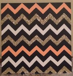 Chevron DIY wall art: canvas, painters tape, paint, mod podge, glitter!