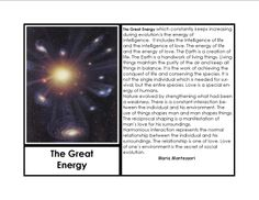 THE GREAT ENERGY:  The Great Lessons taught by Maria Montessori and extensions of the story.