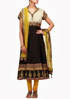 Black color anarkali salwar kameez with yellow dupatta – Panache Haute Couture