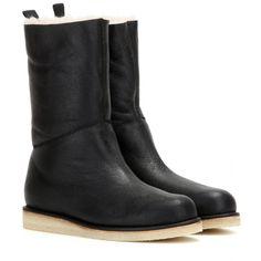 Acne Studios - Ila shearling-trimmed leather boots - mytheresa.com