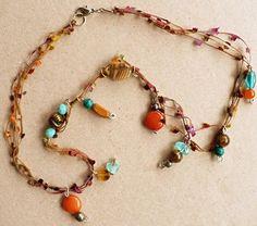 Necklace Gemstone Glass Eyelash Yarn Jewelry Handmade Accessory Unique | artisangoodsbygayle - Jewelry on ArtFire