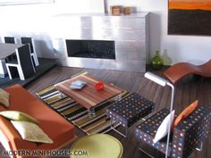 make dollhouse stuff | Others: ceiling lamps and tall plant behind couch are made by me ...