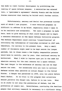 Edward Teller's memo to President Reagan requesting approval for Strategic Defense Initiative.  2 of 5.  Earthfiles.com
