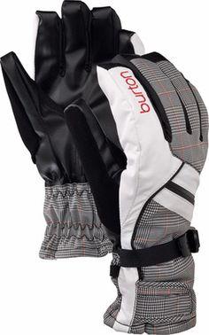 Burton Women's Baker Snowboard Gloves black white checked red