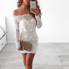 Fashion Sexy Lace Long-Sleeved Dress