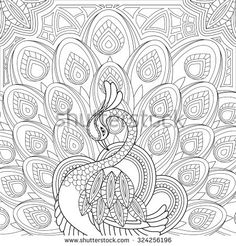 Peacock Paisley Designs To Color