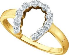 10KT Yellow Gold 0.05CTW DIAMOND LADIES HORSE SHOE RING: Rings