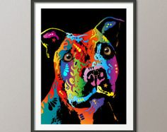 Staffordshire Bull Terrier Print by TheEnlightenedHound on Etsy