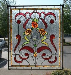 US Made Victorian Stained Glass Window Antique Stained Glass Windows, Stained Glass Flowers, Stained Glass Designs, Stained Glass Panels, Stained Glass Projects, Stained Glass Patterns, Leaded Glass, Beveled Glass, Stained Glass Art