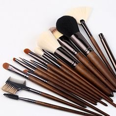 Makeup Brushes15 piece ZOREYA High End- Real Hard Walnut Handle Makeup Brush Set with Dark Brown Leather Brush Case Bag Holder Contains Contour Lip EyeShadow Powder Blending Fan Kit >>> Want additional info? Click on the image. (This is an affiliate link) #ToolsAccessories