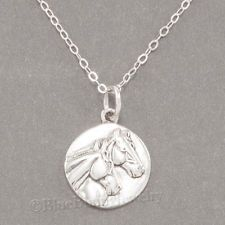 "TWO 2 HORSE HEAD equestrian charm Pendant STERLING SILVER 18"" chain Necklace 925"
