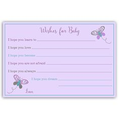 Have guests make wishes at your girl baby shower with this purple and green wishes card featuring a whimsical butterfly. Card measures 4 x 6.