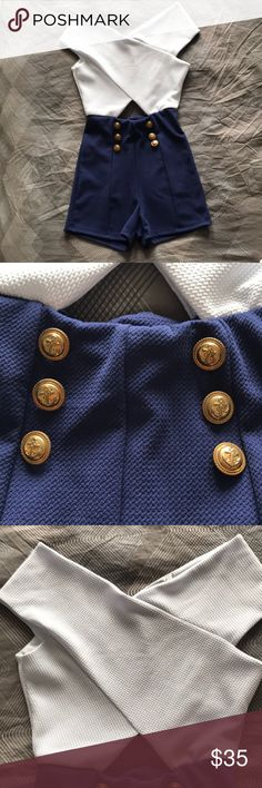 Never worn Romper NWOT Never worn blue and white romper with anchor gold buttons. I absolutely LOVE this piece. It's brand new condition. Firm on the price!! Medium but fits a small. Stretchy material Papaya Other