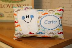 ToothFairy Pillow-Personalized Tooth Fairy Pillow-Tooth by 4Brig