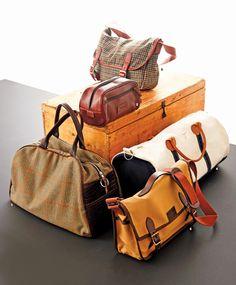 Tan messenger bag (bottom right), F.L. Woods