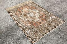 Etsy / $255 / 3'7x5'8, Oushak rug, Turkish Rug, Small rug,beige Rug, Turkish Oushak rug, floor rug, vintage oushak rug, beige oushak rug, antique rug 6002