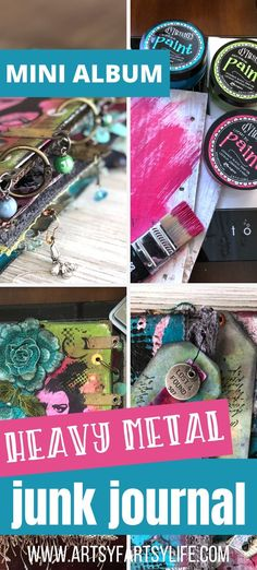 How I used a cardboard base and lots of grommets, brads, eyelets, and binder rings to make a wicked cool junk journal! Tips and ideas for how to make lots of embellishments, flips and dangles to add interest to your mixed media mini album. Easy Paper Crafts, Crafts To Make, Fun Crafts, Adult Crafts, Printable Stickers, Junk Journal, Artsy Fartsy, Binder, Mini Albums