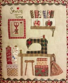Patchwork, applique, embroidery, all little pieces of cuteness Sewing Appliques, Applique Patterns, Quilt Patterns, Fabric Art, Fabric Crafts, Sewing Crafts, My Sewing Room, Sewing Rooms, Small Quilts