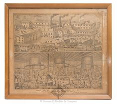 """Framed Advertising Print Of A Glass Works Site, """"Glass Works Of J.H. Hobbs, Brockunier & Co. / Cor. Of 36th & McCullock St's, Wheeling, West Va. / John H. Hobbs. John L. Hobbs. Wm. Leighton Jr. Charles W. Brockunier"""", two scenes depicted, the top portion depicts the exterior of the glass works while the lower portion depicts the inner workings of the glass works to include the furnaces, annealing ovens, and workers, circa. 1870. Interesting and very active print in a plain, attractive, maple…"""
