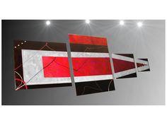 Tableau peinture quadriptyque rouge xxl design pau-art