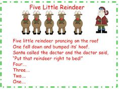 Classroom Freebies: Five Little Reindeer song and song chartYou can find Plays and more on our website.Classroom Freebies: Five Little Reindeer song and song chart Christmas Program, Christmas Poems, Christmas Concert, Kids Christmas, Christmas Activities, Preschool Christmas Songs, Christmas Songs For Toddlers, Kindergarten Christmas, Christmas Crafts