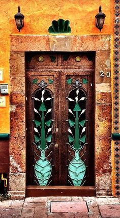 Door with authentic patterns, Querétaro, Mexico Cool Doors, Unique Doors, Entrance Doors, Doorway, Art Nouveau Arquitectura, Doors Galore, When One Door Closes, Knobs And Knockers, Door Gate