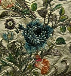 Detail of embroidered court dress - c. 1745