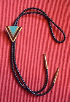 Southwest Triangle Design Bolo Tie - Corrales, NM
