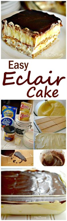 A simple eclair cake that is both delicious and moist and tasty. Ideal for those with a sweet tooth. Enjoy this dessert recipe! A simple eclair cake that is both delicious and moist and tasty. Ideal for those with a sweet tooth. Enjoy this dessert recipe! Eclair Cake Recipes, Dessert Cake Recipes, No Bake Eclair Cake, Dessert Ideas, Cake Ideas, 13 Desserts, Brownie Desserts, Baking Desserts, Light Desserts