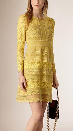 Pale citrus Japanese Lace Babydoll Dress -  Burberry