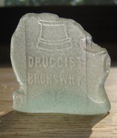 Vintage Druggist Brunswick Sea Glass Bottle