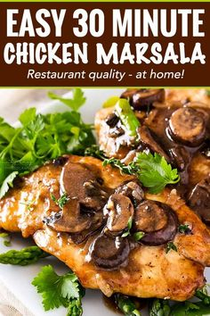 Chicken marsala is a one pot, 30 minute meal made with golden brown pan fried chicken cutlets, savory mushrooms and a rich marsala wine sauce! This easy chicken Marsala dish takes just 30 minutes to make! Fried Chicken Cutlets, Pan Fried Chicken, Best Chicken Recipes, Turkey Recipes, Chicken Cutlet Recipes, Sweet Recipes, Cooking Recipes, Healthy Recipes, Chef Recipes