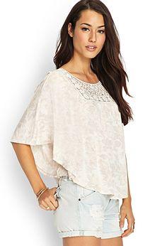 Crochet Lace Flutter Top   FOREVER 21 - 2000068784