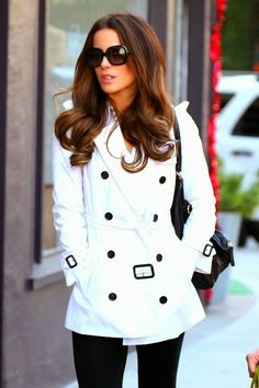 Street style immaculate white coat on Kate Beckinsale
