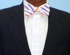 Purple and Orange Reversible Bow Tie