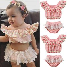 Clode for 0-3Years Old Cute Baby Infant Girls Floral Ruffles Romper Birthday Party Outfits Jumpsuit