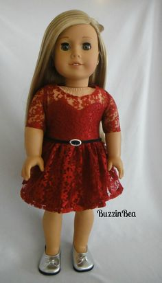 Maroon Lace Dress with 3/4 Sleeve Leather Black Belt by BuzzinBea via Etsy…