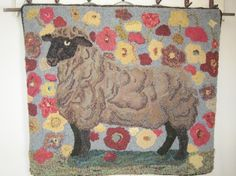 Sheep in the Poppies-Monk's Cloth-Primitive by oldfriendswoolens