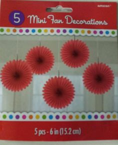 Red Mini Fan Hanging Party Decorations  Parties & Events - New & Sealed