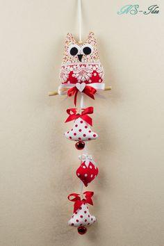 Girlande Tilda Art, Eule, Weihnachten,Landhaus,tolles Geschenk,Handarbeit! 8