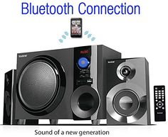 Boytone BT210FB Wireless Bluetooth Stereo Audio Speaker with Powerful Sound Bass System Excellent Clear Sound  FM Radio Remote Control AuxIn Port USBSDfor Phones Laptops Black 30 W * For more information, visit image link. (Note:Amazon affiliate link)