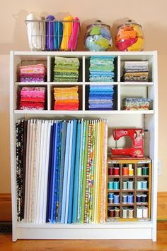 Fabric storage idea. Commenters point out that sunlight fades fabric quickly, so storage out of direct sun is important.