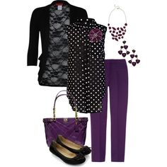 plum pants and polka dots. Inspired by outfit posts. - Polyvore