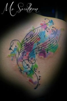 song bird watercolor tattoo