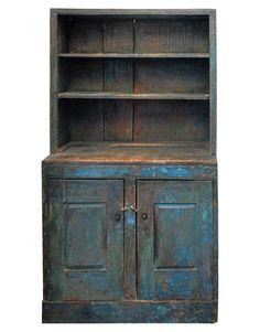 18thC Two-piece stepback cupboard.