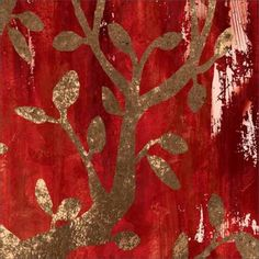 Silhouette Vector Tree Illustration Distressed Texture Landscape Painting 2 Red & Tan Canvas Art by Pied Piper Creative