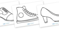 A handy set of shoe templates, allowing your children to create their own shoe design! Kindergarten Activities, Art Activities, Preschool, Design Your Own Shoes, Shoe Template, Clothing Themes, Traditional Stories, Display Banners, Kinds Of Shoes