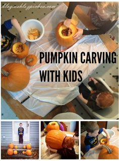 Easy Pumpkin Carving with Kids | Will you be carving pumpkins with your kids this Halloween? Check out these tried-and-true tips for pumpkin carving with kids! | Halloween Crafts for Kids