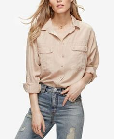 FREE PEOPLE Free People Off Campus Metallic-Detail Shirt. #freepeople #cloth # tops